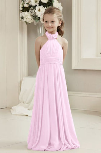 Mia Pale Light Pink Halter Neck Long Bridesmaid Junior Girls Flower Girl party dress uk