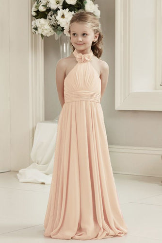Mia Peach chiffon halter neck long junior bridesmaid flower girl girls party dress uk