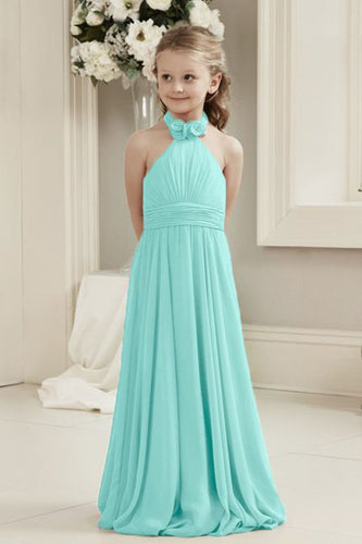 Mia Pale Mint Green Halter Neck Junior Bridesmaid Flower Girl Girls Party Dress UK
