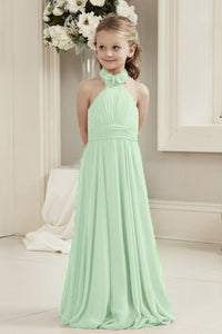 Mia Pistachio Pale Green Halter Neck Long Chiffon Junior Bridesmaid Flower Girl Girls Party Dress UK
