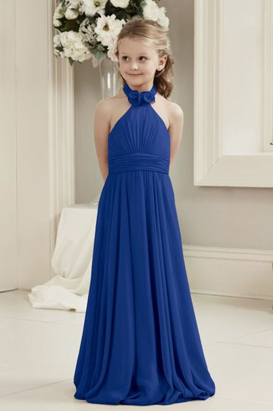 Mia cobalt royal blue halter neck junior bridesmaid flower girl dress uk loulous bridal boutique ltd