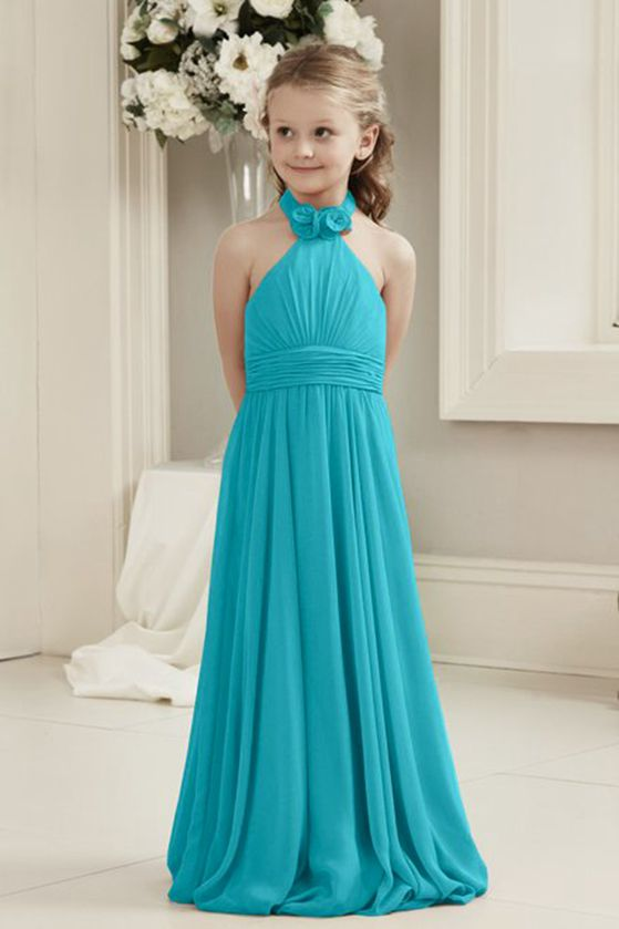 Mia turquoise blue halter neck junior bridesmaid flower girl dress uk loulous bridal boutique ltd