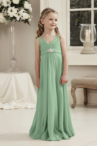 Molly Bamboo Olive Sage Green V Neck Junior Flower Girl Bridesmaid Wedding Party Special Occasion Dress Girls Toddler Baby UK
