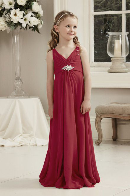 Molly Berry Burgundy Wine Maroon Cranberry Red V Neck Junior Flower Girl Bridesmaid Wedding Party Special Occasion Dress Girls Toddler Baby UK
