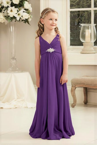 Molly Cadbury Purple V Neck Junior Flower Girl Bridesmaid Wedding Party Special Occasion Dress Girls Toddler Baby UK
