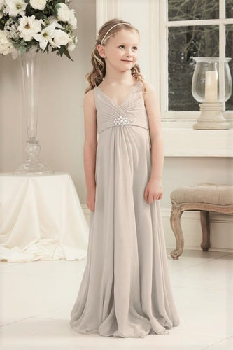 Molly Champagne Cream V Neck Junior Flower Girl Bridesmaid Wedding Party Special Occasion Dress Girls Toddler Baby UK