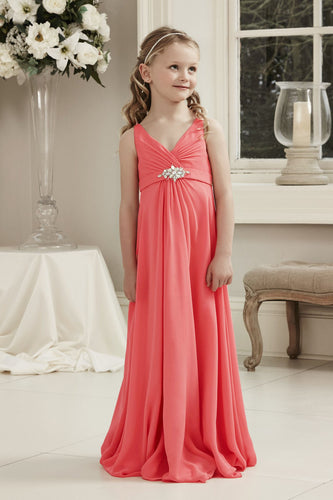 Molly Coral Orange V Neck Junior Flower Girl Bridesmaid Wedding Party Special Occasion Dress Girls Toddler Baby UK