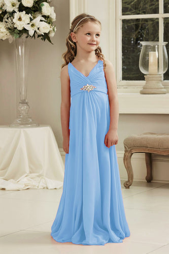 Molly Cornflower Blue V Neck Junior Flower Girl Bridesmaid Wedding Party Special Occasion Dress Girls Toddler Baby UK