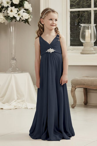 Molly Dark Navy Blue V Neck Junior Flower Girl Bridesmaid Wedding Party Special Occasion Dress Girls Toddler Baby UK