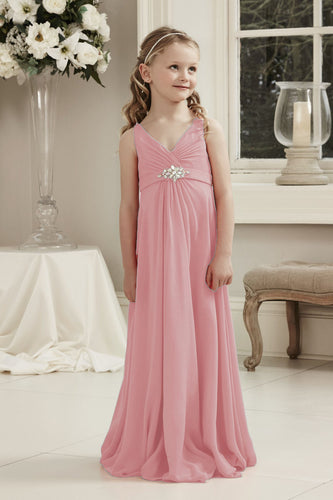 Molly Dusky Dusty Blush Pink V Neck Junior Flower Girl Bridesmaid Wedding Party Special Occasion Dress Girls Toddler Baby UK