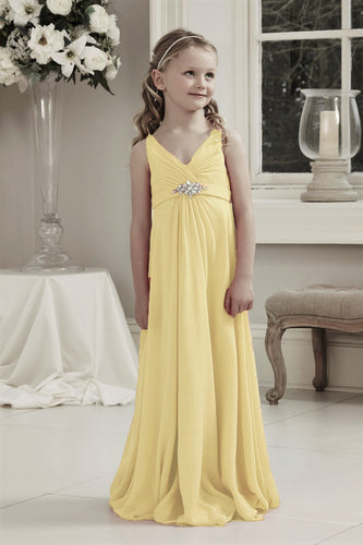 Molly Lemon Yellow V Neck Junior Flower Girl Bridesmaid Wedding Party Special Occasion Dress Girls Toddler Baby UK