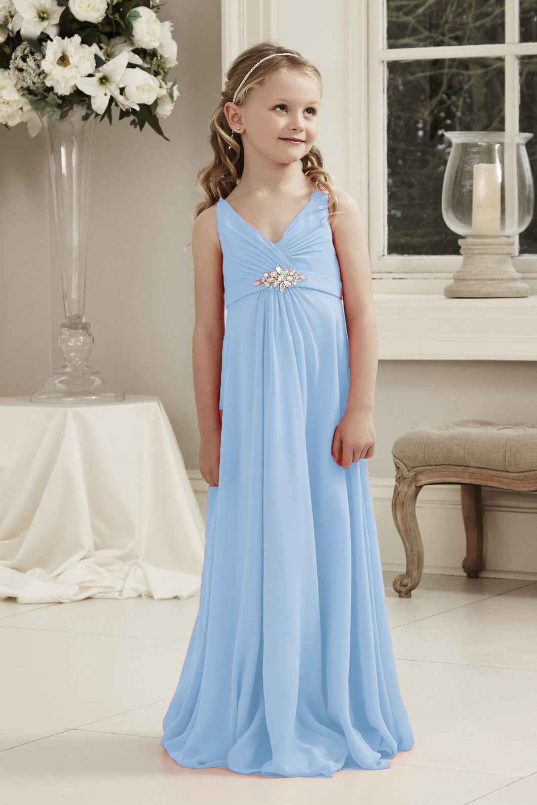 Molly Pale Light Pastel Blue V Neck Junior Flower Girl Bridesmaid Wedding Party Special Occasion Dress Girls Toddler Baby UK