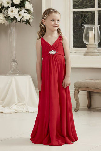 Molly Red Scarlet Crimson V Neck Junior Flower Girl Bridesmaid Wedding Party Special Occasion Dress Girls Toddler Baby UK