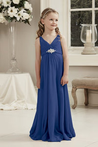 Molly Royal Cobalt Sapphire Blue V Neck Junior Flower Girl Bridesmaid Wedding Party Special Occasion Dress Girls Toddler Baby UK