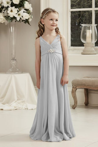 Molly Silver Grey V Neck Junior Flower Girl Bridesmaid Wedding Party Special Occasion Dress Girls Toddler Baby UK