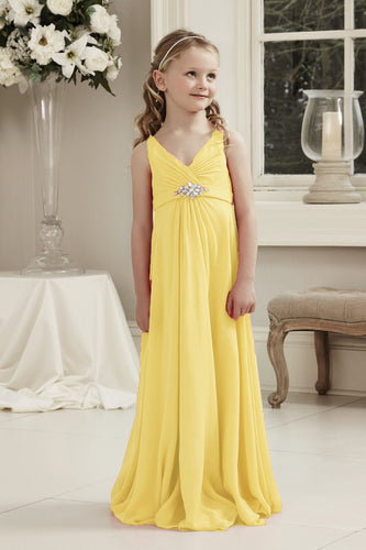 Molly Yellow V Neck Junior Flower Girl Bridesmaid Wedding Party Special Occasion Dress Girls Toddler Baby UK