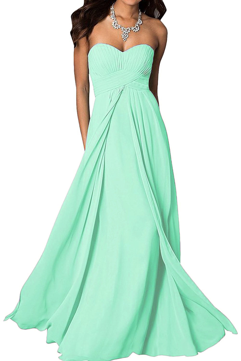 madison pale pastel light mint green chiffon strapless long maxi bridesmaid wedding bride bridal prom ballgown evening formal occasion dress uk