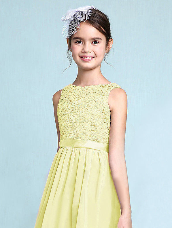 Melody lemon yellow lace chiffon long sleeveless junior bridesmaid flowergirl dress loulous bridal boutique uk
