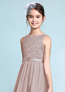 Melody Mink Taupe Coffee Mocha  lace chiffon flower girl junior bridesmaid dress loulous bridal boutique ltd uk
