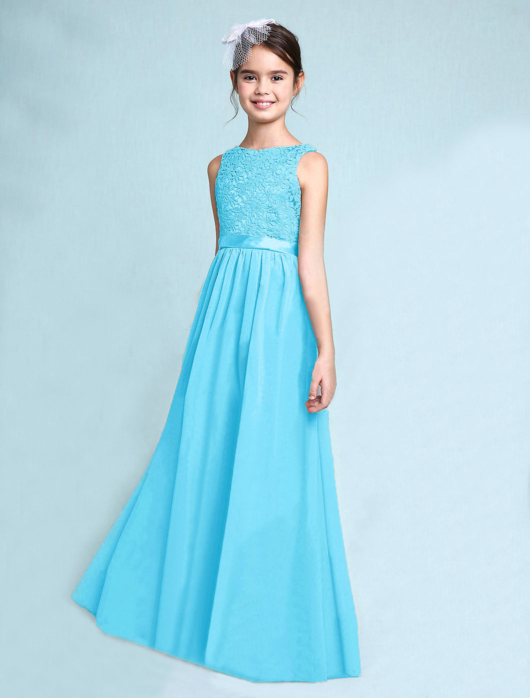 Melody Aqua Spa Blue Turquoise lace chiffon long sleeveless junior bridesmaid flowergirl dress loulous bridal boutique uk