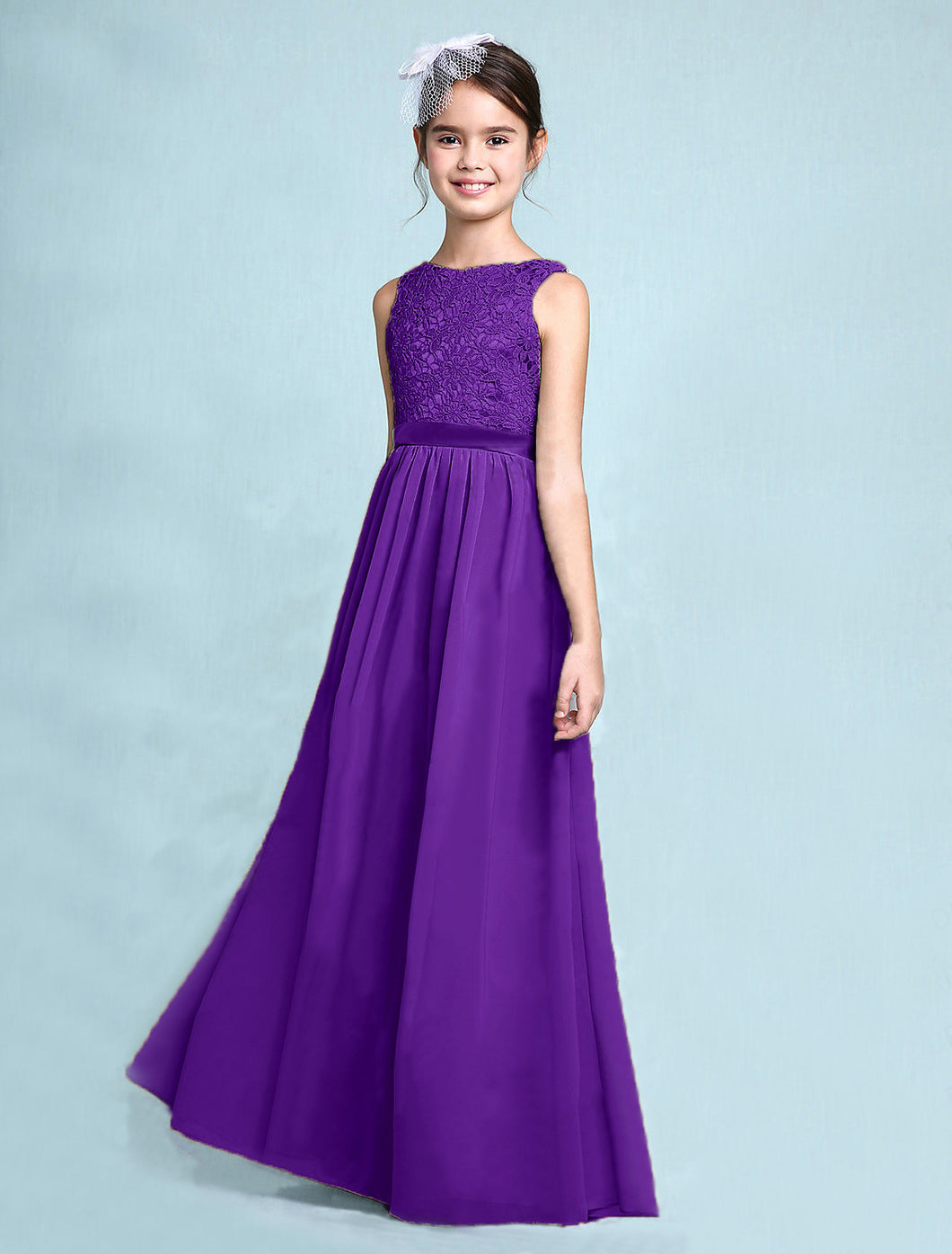 Melody Cadbury Purple lace chiffon long sleeveless junior bridesmaid flowergirl dress loulous bridal boutique uk