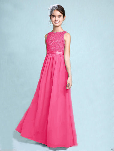 Melody Hot Pink Fuchsia Cerise lace chiffon long sleeveless junior bridesmaid flowergirl dress loulous bridal boutique uk