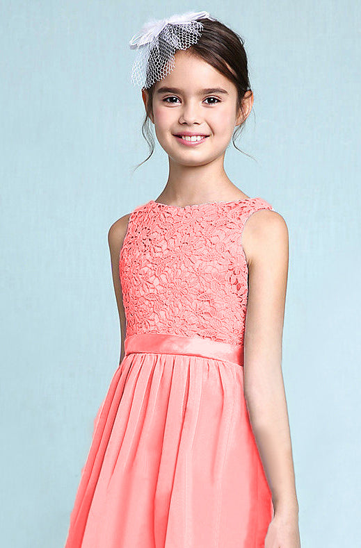 Melody Coral Orange lace chiffon long sleeveless junior bridesmaid flowergirl dress loulous bridal boutique uk