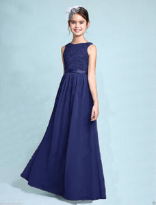 Melody Dark Navy Blue lace chiffon long sleeveless junior bridesmaid flowergirl dress loulous bridal boutique uk