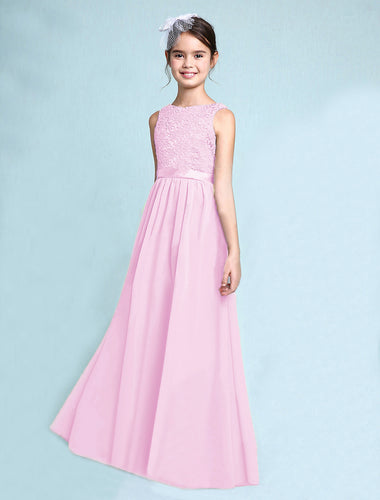 Melody Pastel pale light baby pink lace chiffon long sleeveless junior bridesmaid flowergirl dress loulous bridal boutique uk