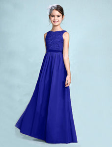 Melody Dark Cobalt Royal Blue lace chiffon long sleeveless junior bridesmaid flowergirl dress loulous bridal boutique uk