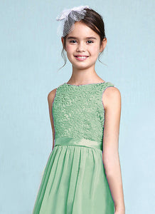 Melody Bamboo sage green lace chiffon long sleeveless junior bridesmaid flowergirl dress loulous bridal boutique uk