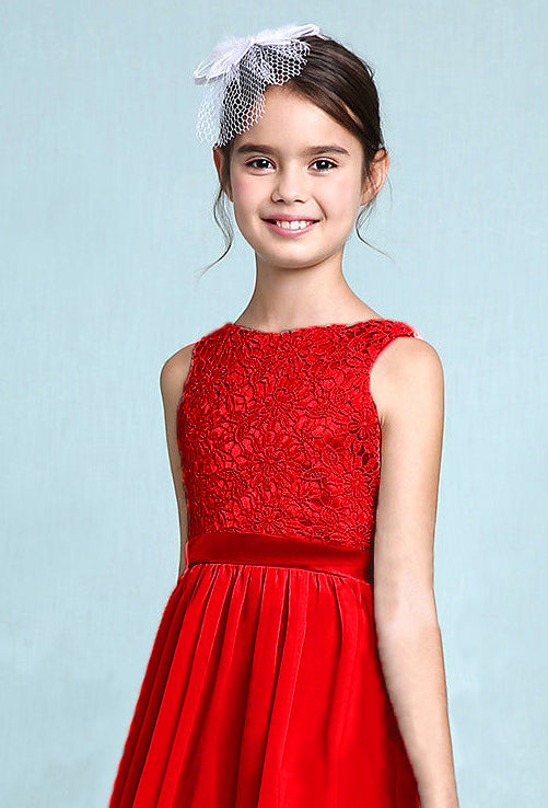 Melody red scarlet crimson  lace chiffon long sleeveless junior bridesmaid flowergirl dress loulous bridal boutique uk