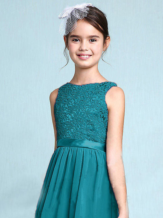 Melody Teal green lace chiffon long sleeveless junior bridesmaid flowergirl dress loulous bridal boutique uk