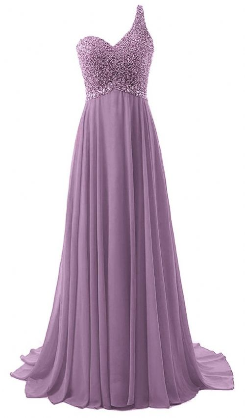 Naomi Pandora lavender mauve purple silver sequin one shoulder prom ballgown evening bridesmaid wedding bridal dress uk
