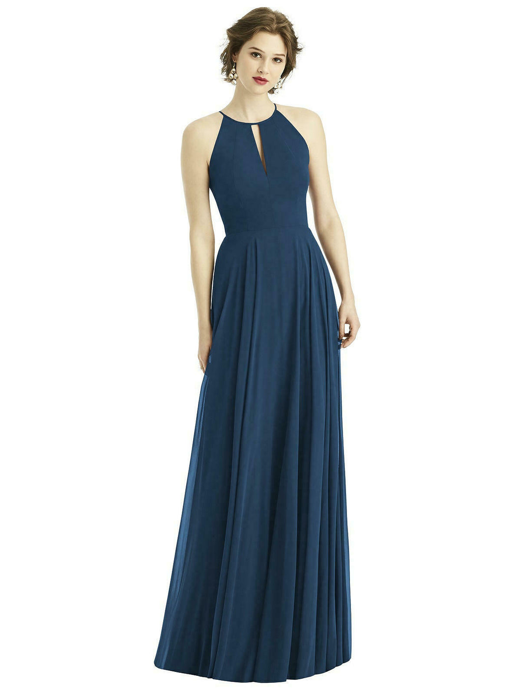 Dark Navy blue  long halter neck bridesmaid evening prom wedding bridal dress Loulous Bridal Boutique Ltd UK