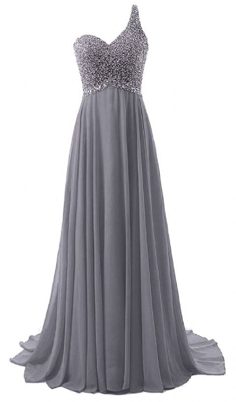Naomi Dark Grey Steel Charcoal Pewter one shoulder sequin beaded long evening prom bridesmaid dress Loulous Bridal Boutique Ltd UK