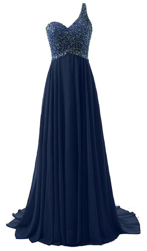 Naomi Pandora dark navy blue silver sequin one shoulder prom ballgown evening bridesmaid wedding bridal dress uk