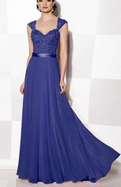 Olivia Royal Sapphire Cobalt Blue lace chiffon beaded bridesmaid wedding bridal dress prom loulous bridal boutique uk