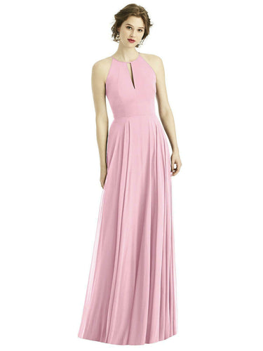 Pale Light Pastel Pink  long halter neck bridesmaid evening prom wedding bridal dress Loulous Bridal Boutique Ltd UK