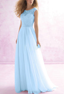 Hayley Pale LIGHT PASTEL BLUE LACE CHIFFON LONG BRIDESMAID WEDDING DRESS UK LOULOUS BRIDAL BOUTIQUE