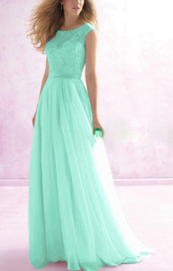 Hayley pale light mint green LACE CHIFFON LONG BRIDESMAID WEDDING DRESS UK LOULOUS BRIDAL BOUTIQUE