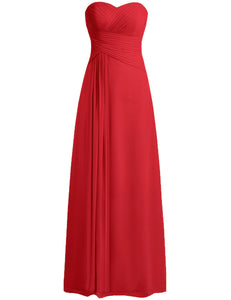 Palma Red Crimson Scarlet Chiffon Strapless Prom Ballgown Bridesmaid Wedding Bridal Evening Dress UK