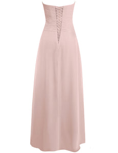 Palma Dusky Dusty Pink Blush  Chiffon Strapless Prom Ballgown Bridesmaid Wedding Bridal Evening Dress UK