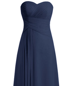 Palma dark navy blue pleat strapless long bridesmaid evening wedding bridal prom dress loulous bridal boutique ltd uk