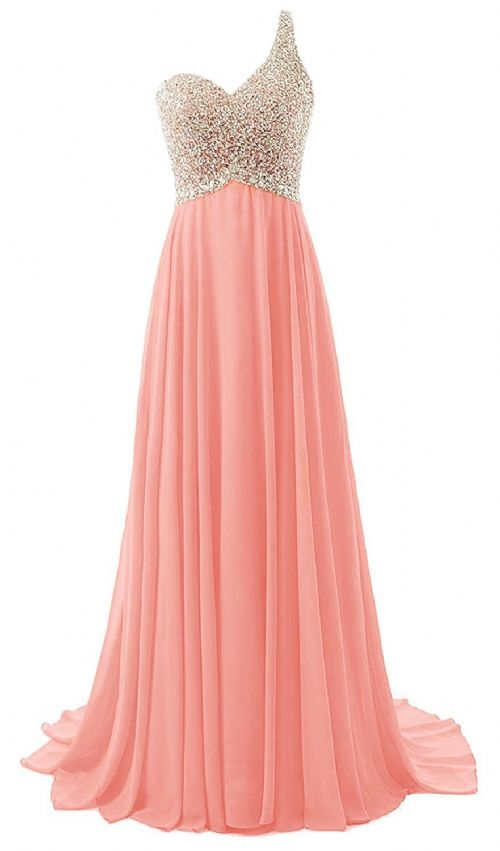 Naomi Pandora  papaya peach silver sequin one shoulder prom ballgown evening bridesmaid wedding bridal dress uk