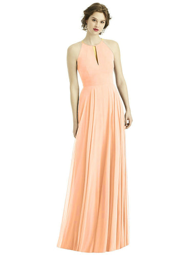 Peach Blush  long halter neck bridesmaid evening prom wedding bridal dress Loulous Bridal Boutique Ltd UK