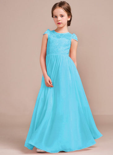 Poppy Aqua Spa Blue Turquoise cap sleeved lace chiffon flower girl junior bridesmaid wedding bridal party dress UK Loulous Bridal Boutique