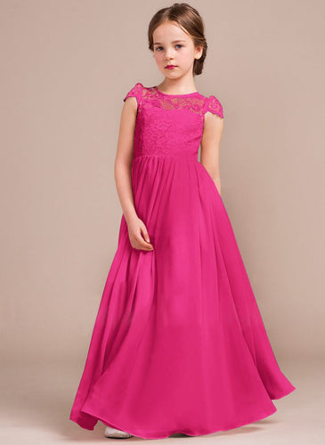 Poppy Cerise Fuchsia Hot Pink cap sleeved lace chiffon flower girl junior bridesmaid wedding bridal party dress UK Loulous Bridal Boutique