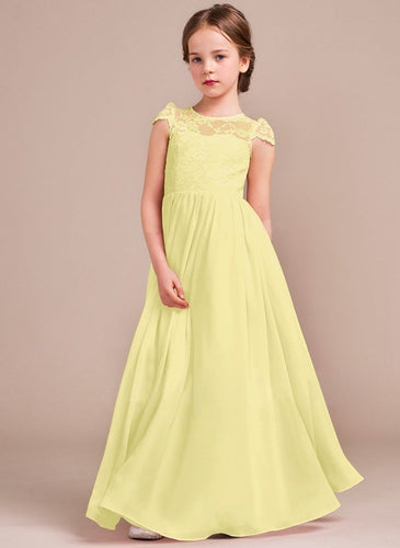 Poppy Lemon Yellow cap sleeved lace chiffon flower girl junior bridesmaid wedding bridal party dress UK Loulous Bridal Boutique
