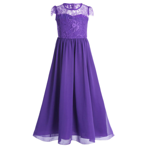 Poppy cadbury purple lace chiffon junior bridesmaid flower girl dress Loulous bridal boutique ltd UK